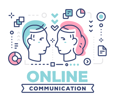 Online communication concept on white background with title and icons.