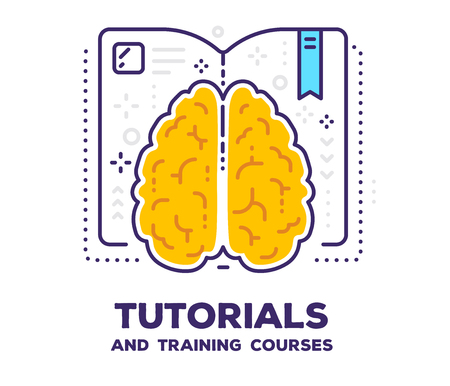 Vector illustration of brain with open book and icons. Tutorial concept with text on white background.