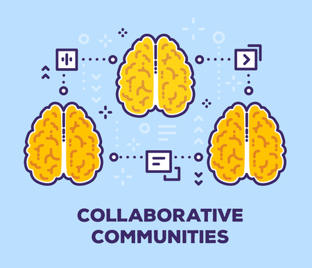 Vector illustration of three connection brains with icons. Collaborative community concept with text on blue background. Illustration