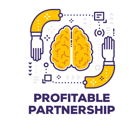 Vector illustration of brain and human hands with icons. Partnership concept with text on white background.