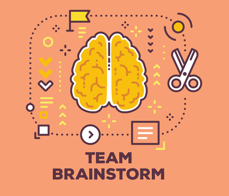 Vector illustration of brain with scheme and icons. Brainstorming concept with text on pink background.