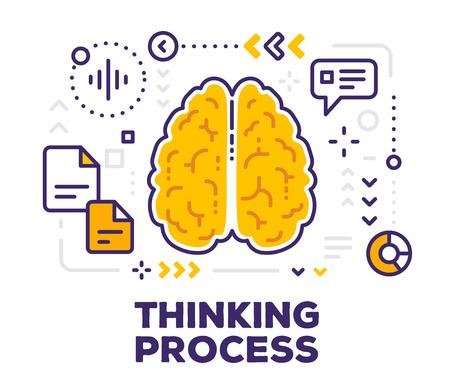 スキームとアイコンで脳のベクター イラストです。白い背景上のテキストとの概念を考えています。