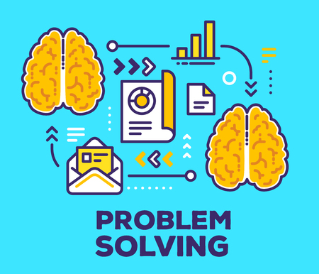 Vector illustration of brains with scheme and icons. Problem solving concept with text on blue background.