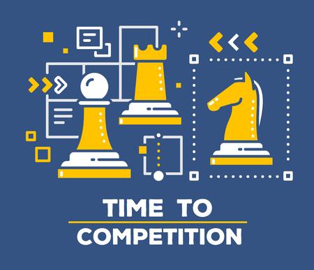 ベクトル チェスの駒のイラスト: ポーン、ルーク、馬。暗い背景とタイトルのビジネス競争概念。