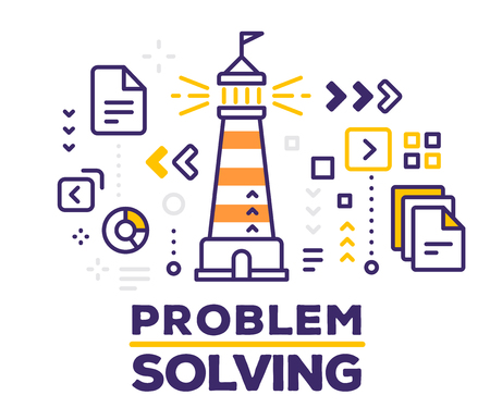 Vector illustration of lighthouse with icons. Problem solving concept with text on white background. Illustration