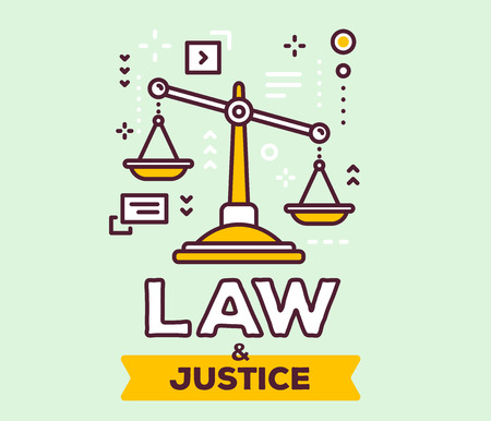 Vector illustration of big yellow  justice scales with icons. Law and justice concept on green background with title.