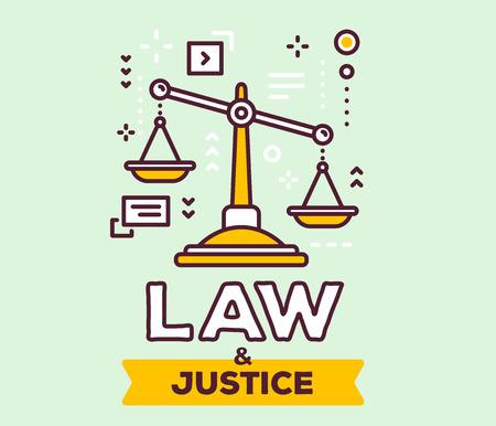 Vectorillustratie van grote gele rechtvaardigheidsschalen met pictogrammen. Wet en rechtvaardigheidsconcept op groene achtergrond met titel.