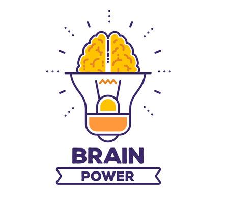 Vector illustration of big yellow light bulb with human brain. Illustration