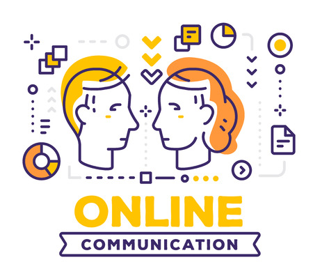 Vector illustration of communicating people male and female heads. Illustration