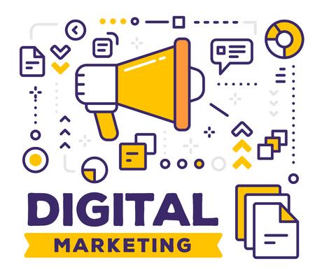ビジネスのアイコンとメガホンのベクター イラストです。タイトルの白い背景の上のデジタル マーケティングの概念。  イラスト・ベクター素材