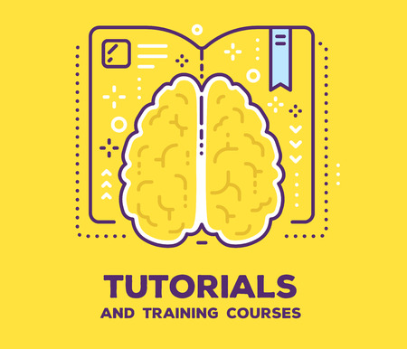 Vector illustration of a brain with open book and icons on yellow background. Illustration