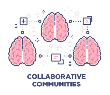 Vector illustration of three connection pink human brains with icons. 向量圖像