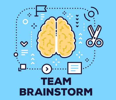 Vector illustration of a brain with scheme, scissors and icons. Brainstorming concept with title on blue background.