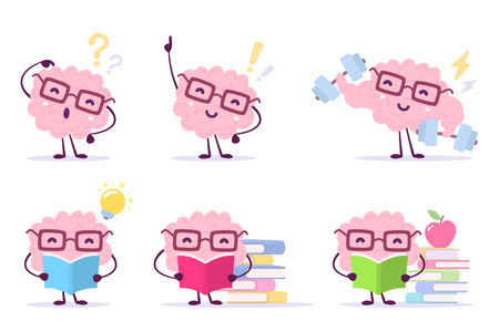 Enjoyable education brain cartoon concept. Set of illustration of pink color happy brain with glasses on white background with pile of books, light bulb, dumbbells. Flat style design of character brain for knowledge. Ilustracja