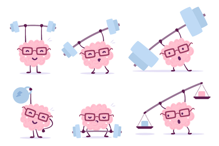Very strong cartoon brain concept. Vector set of illustration of pink color smile brain with glasses lifts bar of different weight on white background. Doodle style. Flat style design of character brain for sport, training, education theme