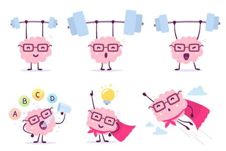 Very strong, healthy and smart cartoon brain concept. Vector set of illustration of pink color brain with glasses with bar, light bulb, vitamin on white background. Doodle style. Flat style design of character brain for sport, training, education theme