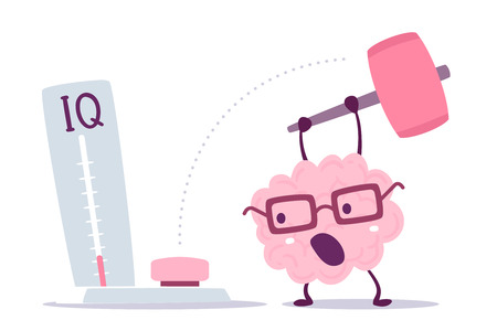 A Vector illustration of pink color human brain with glasses hits with a hammer to measure IQ level on white background. Very strong cartoon brain concept. Doodle style. Flat style design of character brain for training, education theme
