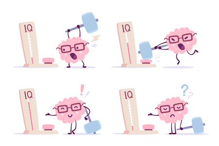Very strong cartoon brain concept. Set of illustration of pink color human brain with glasses and measure level iq on white background. Different degree of impact with a hammer. Flat style design of character brain for training, education theme