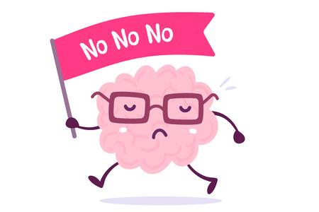 Ilustración del cerebro humano del color rosado con los vidrios que sostienen un mini indicador en el fondo blanco. Concepto de cerebro de dibujos animados de protesta. Estilo Doodle Diseño de estilo plano de cerebro de personaje para entrenamiento, tema de educación Foto de archivo - 89999384
