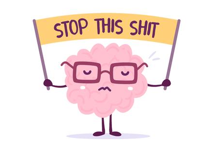 L'illustrazione di vettore del cervello umano di colore rosa con i vetri tiene l'insegna su fondo bianco. Strike cartoon brain concept. Stile Doodle. Design in stile piatto di carattere cervello per l'allenamento, tema di educazione Archivio Fotografico - 89877698