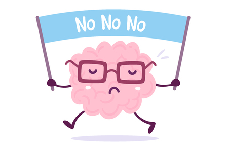 Illustration of pink color human brain with glasses holding a banner on white background. Doodle style. Flat style design of character brain for training, education theme Иллюстрация