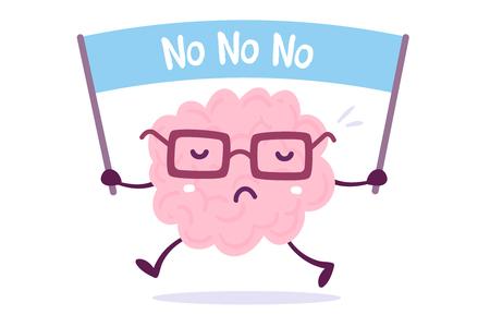 Ilustración del cerebro humano del color rosado con los vidrios que sostienen una bandera en el fondo blanco. Estilo Doodle Diseño de estilo plano de cerebro de personaje para entrenamiento, tema de educación Foto de archivo - 89999444