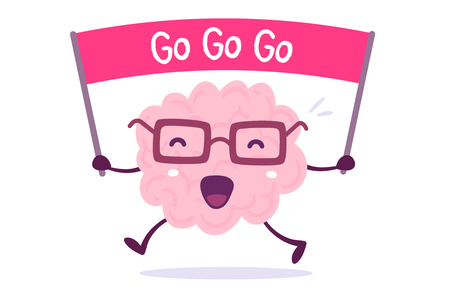 Illustration of pink color human brain character with glasses holding the motivating banner on white background. Doodle style. Flat style design 일러스트
