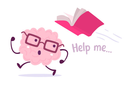 Illustration of pink color brain character with glasses running away from a pink book flying behind on white background. Brain afraid of knowledge cartoon concept. Flat style design Vettoriali