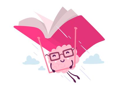 白い背景の空に本ハング グライダーで飛んでメガネでピンク色の脳のイラスト。楽しい教育脳漫画コンセプト。知識、教育テーマの文字脳のフラッ  イラスト・ベクター素材