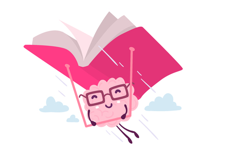 Illustration of pink color brain character with glasses flying on a book hang glider in the sky on white background. Enjoyable education brain cartoon concept. Flat style design of character brain for knowledge, education theme