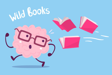 A Vector illustration of pink color brain with glasses running away from books flying behind on blue background. Brain is not loving knowledge cartoon concept. Flat style design of character brain for knowledge