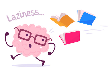 Vector illustration of a brain avoiding knowledge cartoon concept. Pink color lazy brain with glasses running away from color books flying behind on white background. Flat style design of character brain for knowledge, education theme