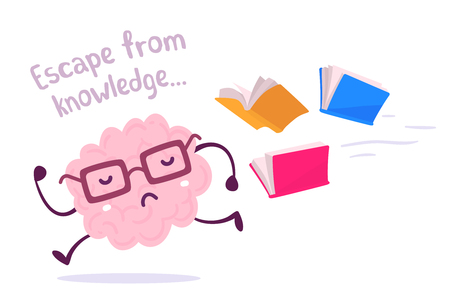 Vector illustration of a brain avoiding knowledge. Pink color lazy brain with glasses running away from color books flying behind on white background. Cartoon concept flat style design of character brain for knowledge, education theme