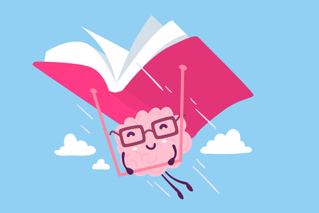 Illustration of pink color happy brain character with glasses flying on a pink book hang glider in the sky on blue background. Enjoyable education brain cartoon concept. Flat style design of character brain for knowledge, education theme Illustration