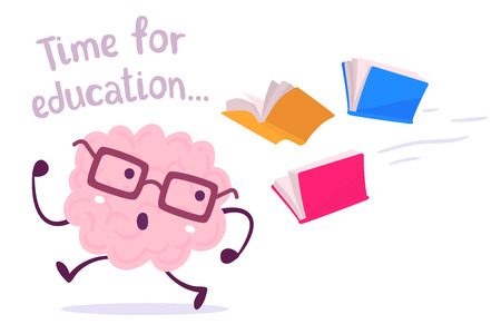 Pink color brain character with glasses running away from color books flying behind on white background. Vector illustration of a brain avoiding knowledge. Cartoon concept flat style design of character brain for knowledge, education theme