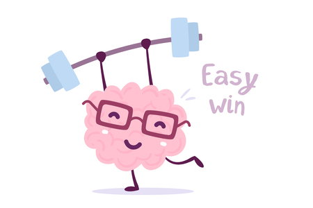 Illustration of pink color brain character with glasses lifting weights with easy win text on isolated background.