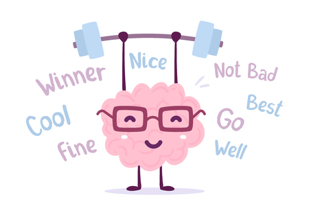 Strong cartoon brain concept. Vector illustration of pink color smile brain with glasses easy lifts weights on white background with tags. Doodle style. Flat style design of character brain for sport, training, education theme