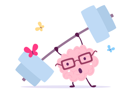 Vector illustration of pink color smile brain with glasses very hard lifts weights with butterfly on white background. Fitness cartoon brain concept. Doodle style. Flat style design of character brain for sport, training, education theme