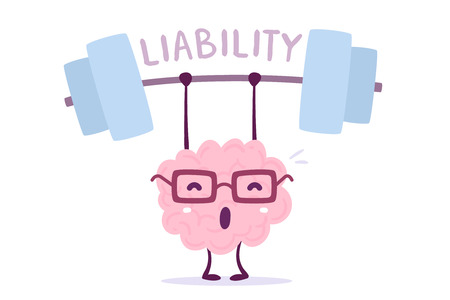 Vector illustration of pink color smile brain with glasses very hard lifts weights on white background. Train liability of cartoon brain concept. Doodle style. Flat style design of character brain for sport, training, education theme Illustration