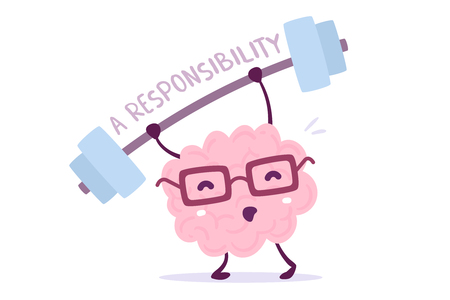 Illustration of pink color brain character with glasses lifting a barbell in isolated background Stock Illustratie
