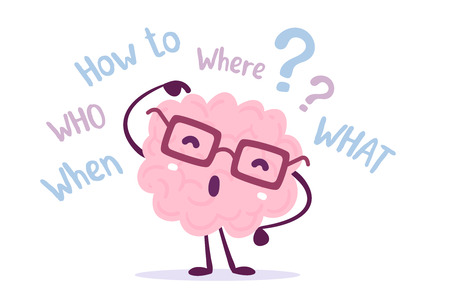 Illustration of pink color human brain character with glasses pointing its finger in the head. Seeking answer cartoon brain concept. Doodle style. Flat style design of character brain for training, education theme