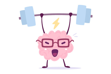 Illustration of pink color brain character with glasses lifting weights on white background. Doodle style. Flat style design of character brain for sport training