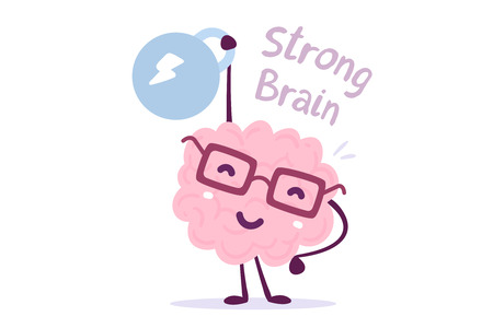 Very strong cartoon brain concept. Doodle style. Vector illustration of pink color smile brain with glasses easy lifts weight on white background. Flat style design of character brain for sport, training, education theme Çizim