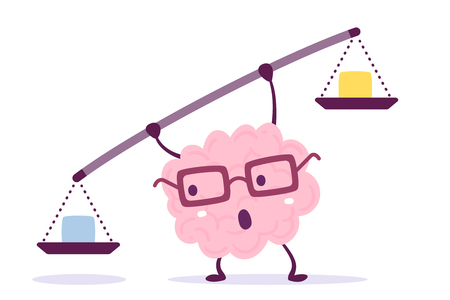 Vector illustration of pink color human brain with glasses holding a scales in hands on white background. Decision making cartoon brain concept. Doodle style. Flat style design of character brain for training, education theme Vectores