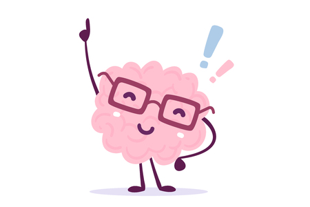Illustration of pink color human brain character with glasses pointing its finger upward. Doodle style.