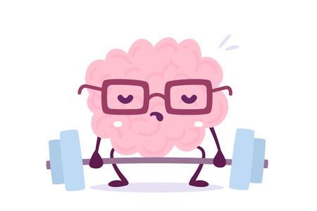 Illustration du personnage de cerveau de couleur rose avec des lunettes, essayant de soulever des poids sur fond blanc.