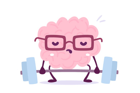 Illustration of pink color brain character with glasses trying to lift weights on white background.