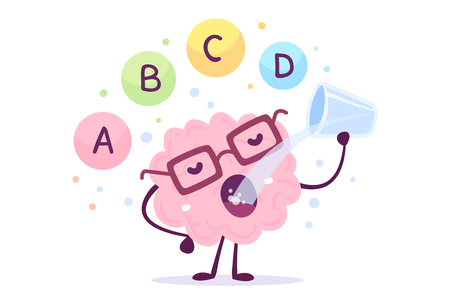 A vector illustration of pink color human brain character with eye glasses and drinking on white background. Proper nutrition cartoon brain concept. Healthy lifestyle. Flat style design