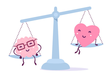 Illustration of pink color human brain with glasses and of a heart sitting on the scales on white background. The brain outweighs the heart concept. Cartoon style. Flat style design