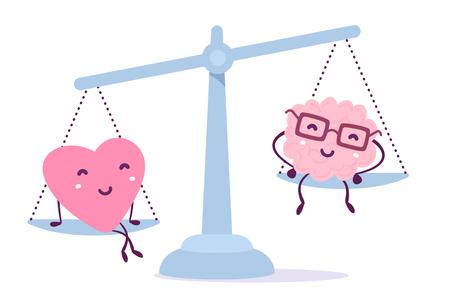 De vectorillustratie van roze kleurenhart en menselijke hersenen met glazen zit op de schalen op witte achtergrond. Het hart is belangrijker dan het breinconcept. Doodle stijl. Vlak stijlontwerp van karakterhersenen voor opleiding, onderwijsthema